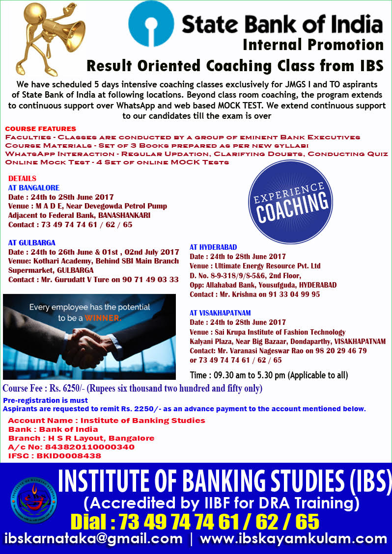 STATE BANK OF INDIA - INTERNAL PROMOTION COACHING CLASSES ...